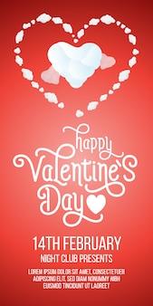 Happy valentines day-schriftzug mit herzen und beispieltext