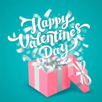Happy valentines day schriftzug und rosa geschenkbox