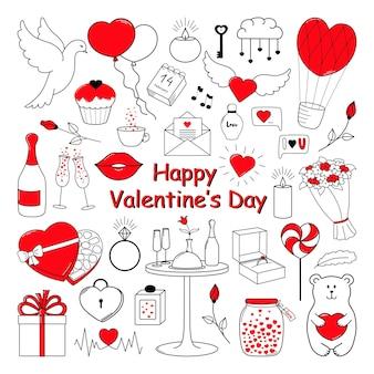 Happy valentines day set süße handgezeichnete elemente