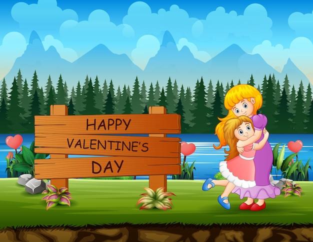 Happy valentines day zeichen mit einer mutter umarmt ihre tochter