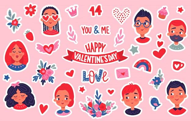 Happy valentinstag aufkleber gesetzt.