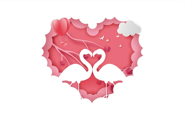 Happy valentinstag banner mit paar gans oder schwan liebe und baum papierschnitt stil