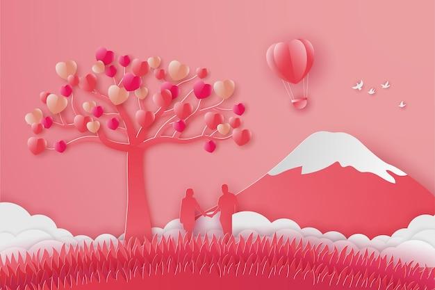Happy valentinstag banner mit paar liebe mit bergen