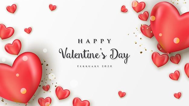 Happy valentinstag banner mit realistischen herzen