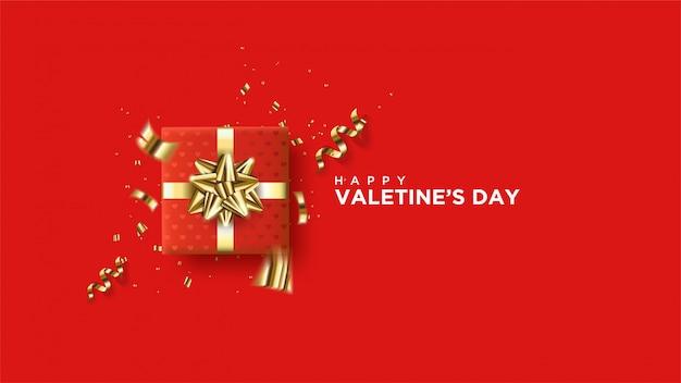 Happy valentinstag banner mit realistischen herzen.