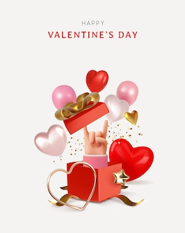 Happy valentinstag banner mockup stil liebe objekte illustration