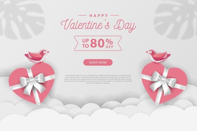 Happy valentinstag banner verkaufsförderung und rabatt, papierschnitt kunststil.