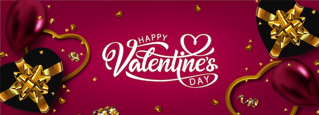 Happy valentinstag banner vorlage. vektor kalligraphie inschrift und dekoration elemente.