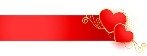 Happy valentinstag dekorative herzen banner design