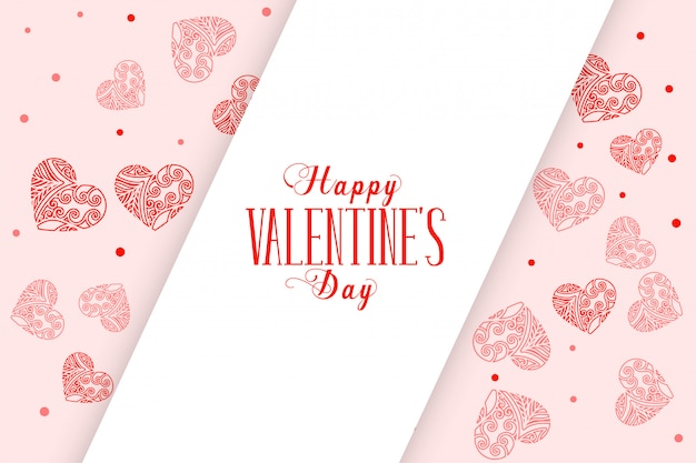 Happy valentinstag dekorative herzen grußkarte
