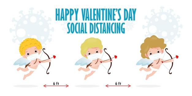 Happy valentinstag für soziale distanz infografik neues normales lifestyle-konzept