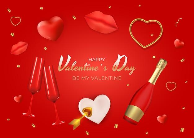 Happy valentinstag gruß mit herzen und flasche