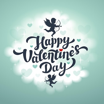 Happy valentinstag gruß text illustration