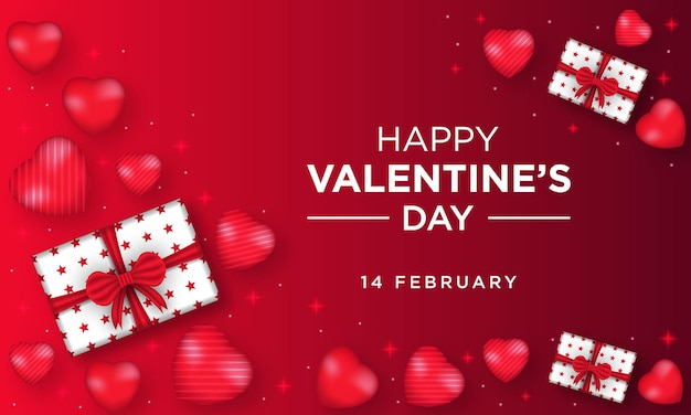 Happy valentinstag grußkarte mit herz und geschenkbox
