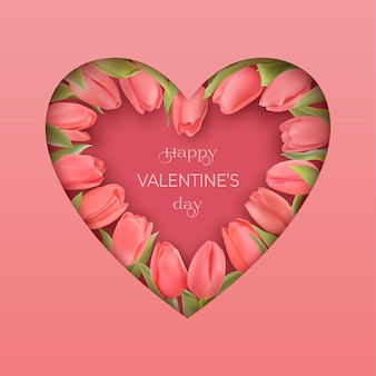 Happy valentinstag grußkarte mit rosa fotorealistischen tulpen. papierschnittart rosa herz mit schatten. glückwunschtext alles gute zum valentinstag.