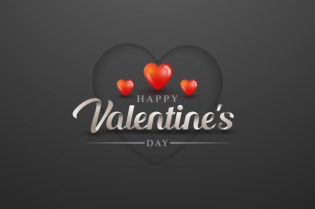 Happy valentinstag grußkarte mit schriftzug auf dunkelgrau