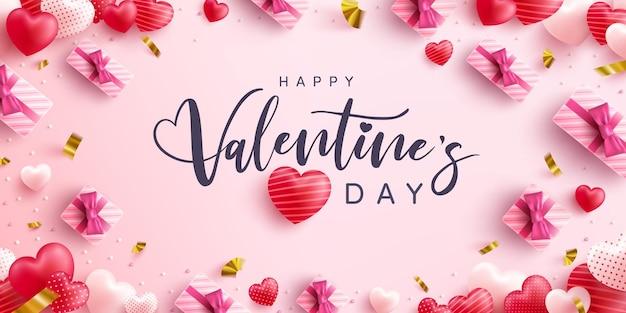 Happy valentinstag grußkarte mit schriftzug