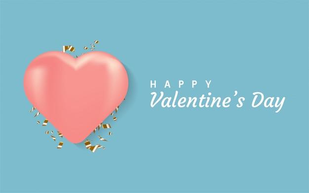 Happy valentinstag hintergrund. mit realistischem herzen 3d.