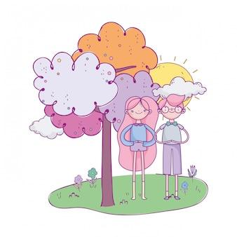 Happy valentinstag, junge copule im feld baum sonnentag illustration