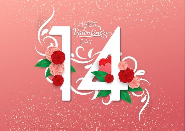 Happy valentinstag kalligraphie auf rosa hintergrund