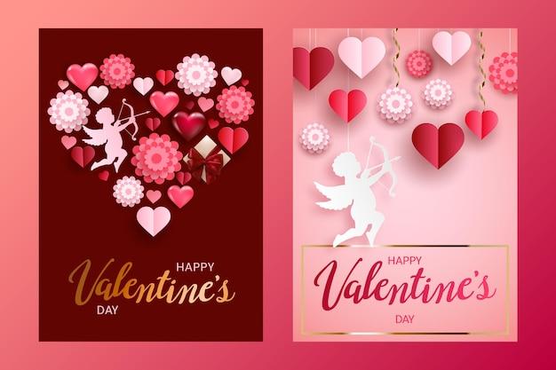 Happy valentinstag karten oder banner set mit geschenkbox, volumen herzen, papierblumen und cupid.
