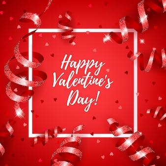 Happy valentinstag mit serpentin und herz konfetti.