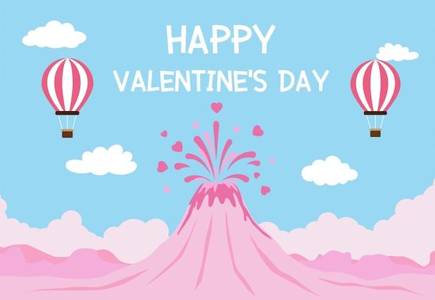 Happy valentinstag mit vulkanausbruch der liebe