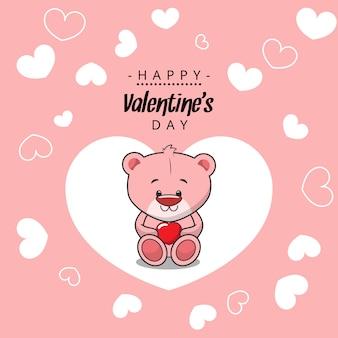 Happy valentinstag nachricht. teddybärcharakter mit rotem herzen des valentinsgrußes