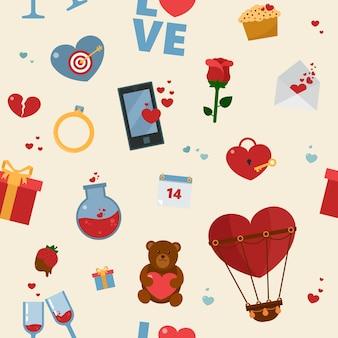 Happy valentinstag nahtlose muster
