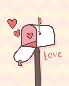 Happy valentinstag offener briefkasten mit herzen