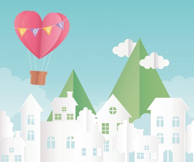 Happy valentinstag origami papier luftballon herz luftballons berge wolken stadtbild