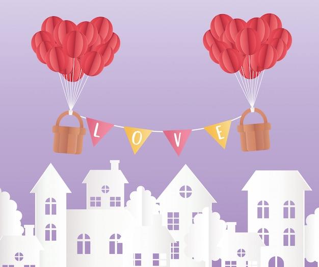 Happy valentinstag origami papierballons körbe stadt
