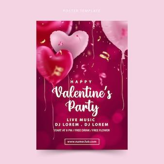 Happy valentinstag party poster mit bokeh hintergrund