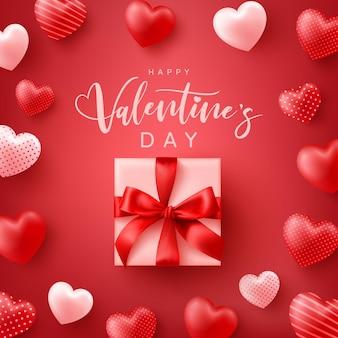 Happy valentinstag poster oder banner mit süßen herzen und niedlichen geschenkbox auf rot