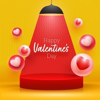 Happy valentinstag schrift über podium mit 3d-herzkugeln präsentiert