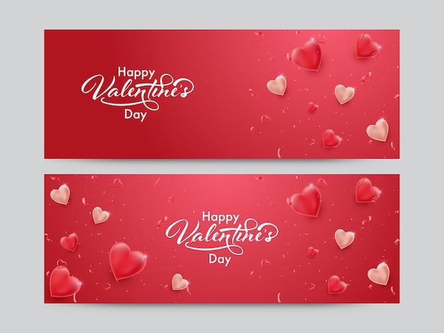 Happy valentinstag schriftart mit glänzenden herzen