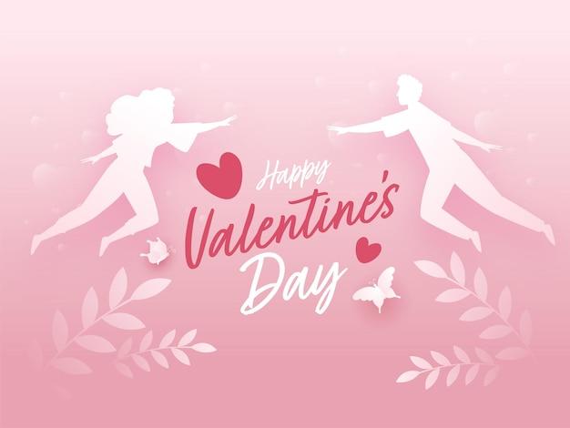 Happy valentinstag schriftart mit silhouette paar fliegen, blätter und schmetterlinge auf glänzendem rosa hintergrund.