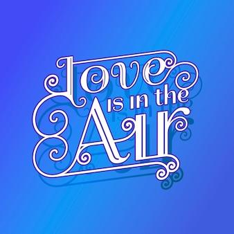Happy valentinstag schriftzug auf blauem hintergrund