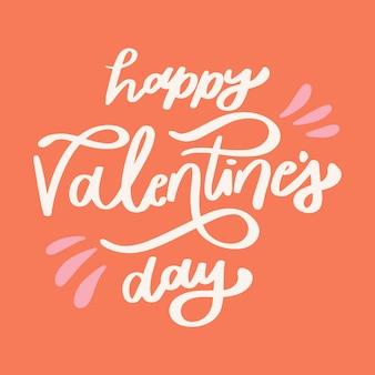 Happy valentinstag schriftzug auf orangefarbenen hintergrund