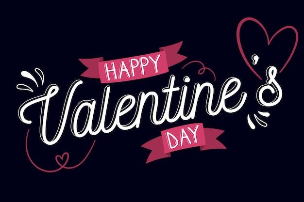 Happy valentinstag schriftzug auf schwarzem hintergrund