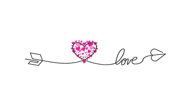 Happy valentinstag schriftzug isoliert auf weißem hintergrund vektorillustration buchstaben hand gezeichnete c...