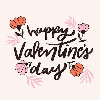 Happy valentinstag schriftzug mit blumen
