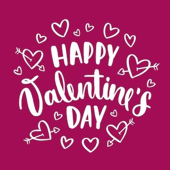 Happy valentinstag schriftzug mit herzen