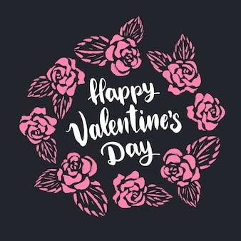 Happy valentinstag schriftzug mit rosa rosen