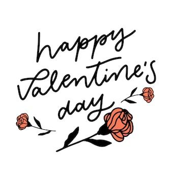 Happy valentinstag schriftzug mit rosen