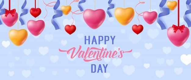 Happy valentinstag schriftzug und herzen