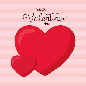 Happy valentinstag schriftzug und zwei herzen