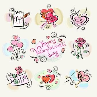 Happy valentinstag sticker illustrationen