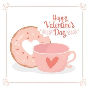 Happy valentinstag süße biss donut und kaffeetasse karte