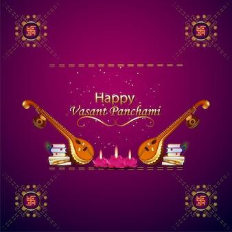 Happy vasant panchami kreative elemente und hintergrund